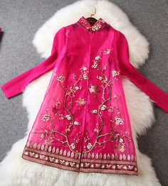 Embroidered Lace Jacket in Pink