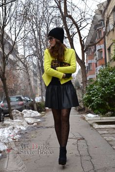 Daily style: Neon jacket during winter season