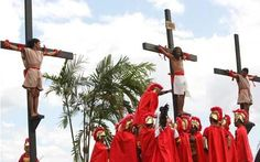 Re-enactment of the Crucifixion of Christ in the Philippines during Holy Week.