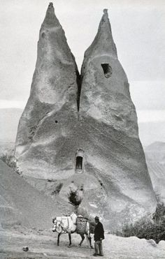 Vernacular architecture of Cappadocia, photography by Marc Riboud, 1955, in Cappadocia, Turkey.