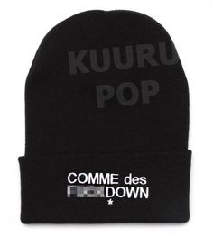 COMME des F***DOWN Beanie  Tell people how you really feel with this outrageous beanie. It features 'COMME DES FUCKDOWN' embroidered in white with a star below. Similar hats and other clothing with the same slogan have been worn by tons of different idols, including G-Dragon and Zico.  - One size fits all. - Beanies should fit everyone age 10 and up (including adults). - High-quality embroidery.