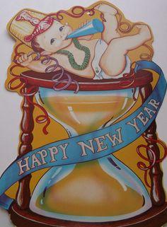 Vintage New Year Die Cut Happy New Year Greetings, New Year Greeting Cards, New Year Wishes, New Year Card, Vintage Christmas Cards, Vintage Holiday, Vintage Cards, Vintage Postcards, Vintage Happy New Year