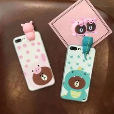 3D brown bear For iphone 6 6s 6plus cute Cartoon Dinosaur phone Cases For iphone 7 / 7Plus soft silicon case back cover pink pig #Affiliate