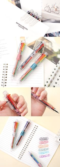 Life is so much more coordinated with some effective color-coding! This Agenda 6 Color Pen makes it all too easy! With 6 bright colors in 1 adorably chubby pen, writing just became incredibly fun~ To use, simply click down on a color switch & to change to another color, just click down on another switch. Each color is ballpoint type pen with 0.7mm tips for super solid lines. This pen is your best friend whether you're working, taking notes for school, doing crafts, or drawing for an art…