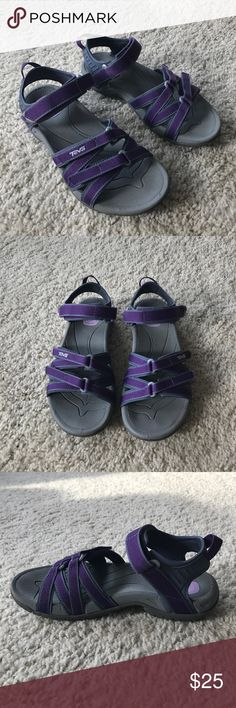 Purple Teva Tirra Sandals Comfortable Teva Tirra sandals in excellent condition. These sandals provide lots of support and are very cushioned. They are adjustable with Velcro straps. Only worn a handful of times. Beautiful purple color! Teva Shoes Sandals