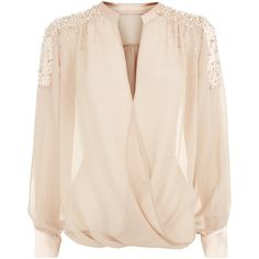 Nude Wrap Chiffon Blouse (895 BRL) ❤ liked on Polyvore featuring tops, blouses, shirts, blusas, pink chiffon shirt, nude shirt, wrap front top, chiffon shirt and wrap front shirt