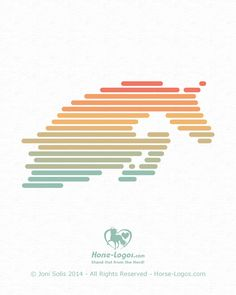 Jumping horse logo design created with evenly spaced lines with round ends. Six pretty colors are in this equine design. Feedback is welcome. #horselogo #horseart #design #logo
