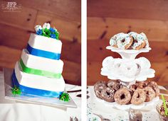 blue and green wedding cake, square wedding cake, donuts