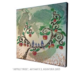 Apple Tree Paintings On Canvas | Apple Tree Painting on Canvas Love birds family Art Blossom Landscape ...