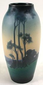 Rookwood Pottery scenic vellum glaze vase decorated by Lorinda Epply, 1916. This large vase is painted all over with a landscape of trees