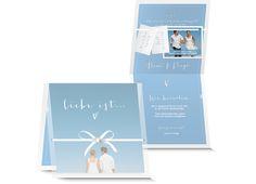 Hochzeitskarte mit transparentem Umlageblatt, Bändeli mit Schleife und kleinen Kärtchen zum dran Anhängen