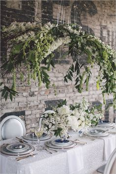 Classic green and white hanging flower installation - chic wedding ideas… Chic Wedding, Wedding Table, Floral Wedding, Wedding Events, Wedding Flowers, Tree Wedding, Wedding Aisles, Wedding Ceremonies, Wedding Hair