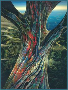 California landscape - Eyvind Earle - the great jewel tree Fantasy Landscape, Fantasy Art, Eyvind Earle, Illustrator, Magical Tree, Magic Realism, Tree Illustration, Disney, New York City