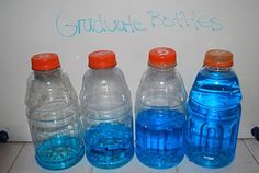 Gradual Bottles Take four or five bottles and add different amounts of water in each one, from empty to full. Mix the bottles up, then let the children seriate them from empty to full.