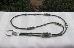 Sage Olive Green Beaded Lanyard Necklace ID Badge Holder by TheLanyardNecklace on Etsy