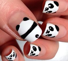 Image via Panda nail art designs Image via How to Create Cute Panda Nail Art Image via Panda nails! Image via Nail Art Water Decals Transfers Sticker Lovely Panda Bamboo Nail Art Diy, Diy Nails, Cute Nails, Pretty Nails, Trendy Nail Art, Glitter Nails, Panda Nail Art, Animal Nail Art, Kawaii Nail Art