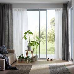 New Sliding Glass Door Window Treatments Ikea Living Rooms Ideas Glass Door Curtains, Sliding Door Curtains, Sliding Door Window Treatments, Beige Curtains, Window Treatments Living Room, Curtains Living, Thick Curtains, Panel Curtains, Glass Doors
