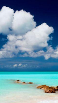 Sky, Clouds, Sea, Beach, Rocks | HD iPhone Wallpapers