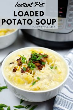 Instant Pot loaded potato soup is perfect for those cooler months. Hearty and full of flavor and a great family weeknight meal. | Simply Low Cal @simplylowcal #instantpotsoup #loadedpotatosoup #chunkypotatosoup #instantpotrecipe #simplylowcal
