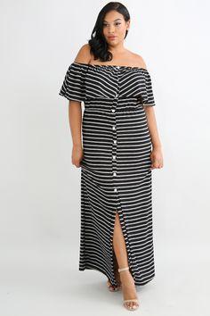 f6b57810371 Ruffled Button Maxi Dress Plus Size Fashion For Women