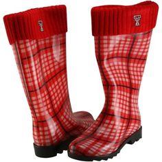 Texas Tech Red Raiders Ladies Plaid Cuffed Rain Boots - Red #TTAA #SupportTradition