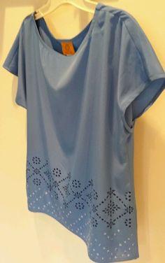 Misses Ruby Rd. Sky Blue Laser cut blouse top sz. 6 NWOT Free S/H U.S.! #RubyRd #Blouse #Casual