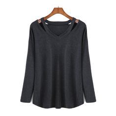 SheIn(sheinside) V Neck Long Sleeve Hollow Black T-shirt ($9.90) ❤ liked on Polyvore featuring tops, t-shirts, shirts, sweaters, blusas, black, long sleeve cotton shirt, long sleeve cotton t shirts, long sleeve tops and v neck t shirts