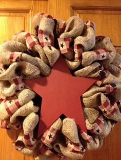 Primative burlap wreaths with letter or by DesignsbyDeannaEmbry, $40.00