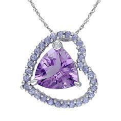 "Amethyst, Tanzanite & Diamond Accent Sterling Silver Heart Pendant Necklace, Women's, Size: 18"", Purple"