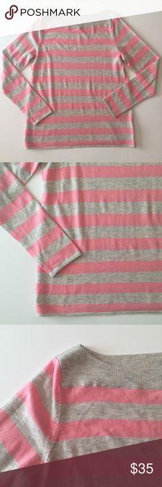 "GAP Bella Stripe Gray & Pink Boatneck Sweater The ""Bella Stripe"" Sweater by GAP in ""Coral Frost"". Pink and gray striped Boatneck sweater. Size small. GAP Sweaters Crew & Scoop Necks"