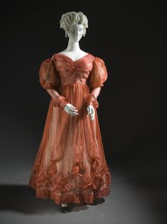 Woman's Ball Gown | LACMA Collections1827 Silk, metal hooks and eyes, silk satin undersleeves with lace trim