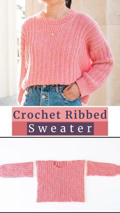 Crochet Jumper Pattern, Jumper Patterns, Easy Sweater Knitting Patterns, Knit Patterns, Fast Crochet, Cute Crochet, Diy Crochet Top, Kids Crochet, All Free Crochet