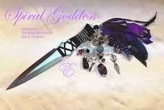 """Spiral Goddess Athame 7.5"""" Amethyst,Moonstone, Obsidian Embellished Athame by EnchantingEliora etsy.com/listing/463894231"""