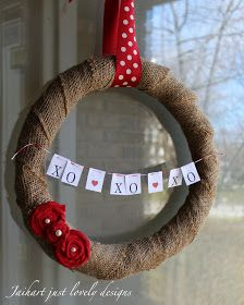 Burlap Valentine Wreath~thought you'd like this one Heidi : )