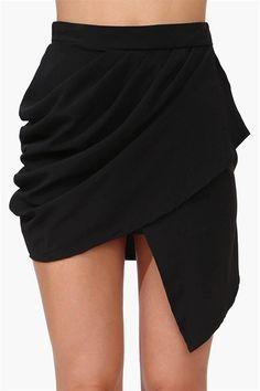 Slant Mini Skirt in Black