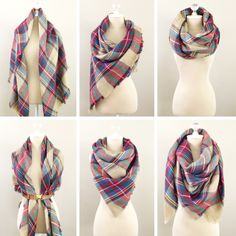 Six ways to wear a plaid blanket scarf | StylishPetite.com