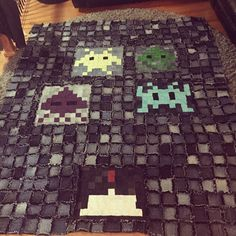 Space Invaders Rag Quilt for Krischan, I may have made the mistake of asking what he wanted 😳 queen size