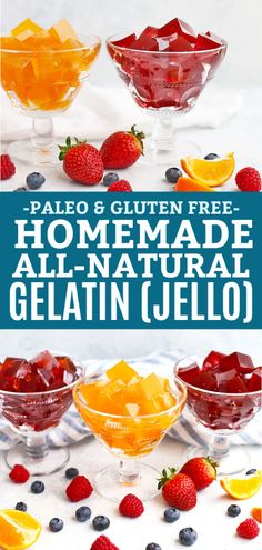 Healthy Men How to Make Homemade Healthy Homemade Jello - Yes, really! This homemade gelatin recipe is made from natural ingredients, and natural sweeteners, without any dye or additives. Paleo Jello, Gluten Free Jello, Sugar Free Jello, Lactose Free Diet, Sugar Free Desserts, Gluten Free Desserts, Dairy Free Jello Recipes, Jello Gelatin, Beef Gelatin