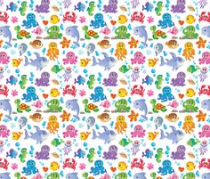 Blue children under the sea fabric by robert kaufman usa 1 for Children of the sea fabric