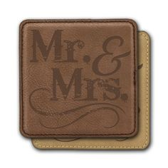 Square Leather Coasters (6) - Mr & Mrs