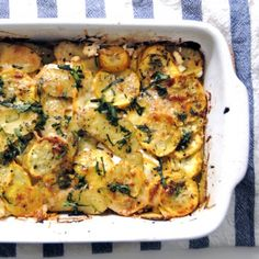 Summer squash, potatoes and goat cheese. A lighter, healthier version of a traditional gratin.