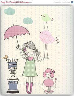 Baby girl, Nursery wall art print, Baby room decor, Paris umbrella ...shabby chic, vintage style nursery..light pink light green