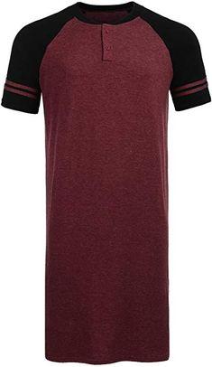 Goldenfox Comfortable Big   Tall Pajama Dress For Men V Neck Botton Up Sleepwear  Nightshirt ( e90c938f4
