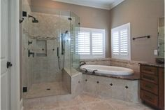 In a house, especially a large house must have a master bathroom. And the master bathroom has a larger size than the other bathrooms. And besides, the master bathroom is designed more elegant and m… Bathtub Remodel, Master Bath Remodel, Shower Remodel, Master Bathroom Layout, Small Bathroom, Modern Bathrooms, Bathroom Renos, Bathroom Renovations, Rustic Bathroom Makeover