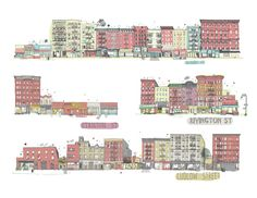James Gulliver Hancock  is trying to draw all the buildings in New York. Here is a full block on the lower east side.