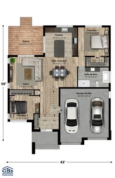 Essential Details On House Interior Planning Small House Floor Plans, Bungalow House Plans, Architectural Design House Plans, Architecture Design, Modern Bungalow Exterior, Construction Images, Model House Plan, House Blueprints, Mid Century House