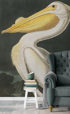 Capture the striking beauty of Audubon's Birds of America with this beautiful wallpaper mural. Brilliant detail of the bird against a classic forest landscape brings a truly sophisticated feel to your home. Pair with dark furnishings to nail the dark wall trend.