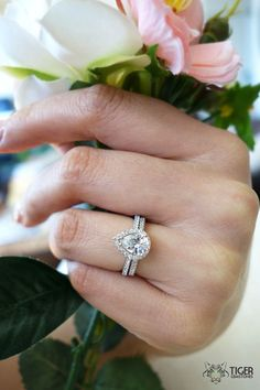 1.5 Carat Pear Cut Halo Engagement Ring & by TigerGemstones