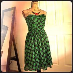 Green& Black Polka Dot Dress