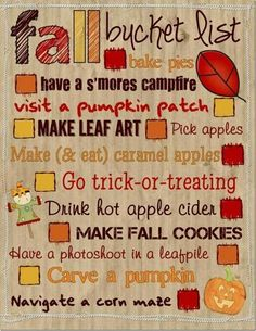 Fall Bucket List quote fun autumn fall list ideas pumpkin halloween thanksgiving holidays